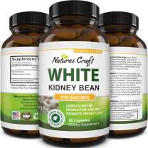 Natural White Kidney Bean Extract - White Kidney Bean Energy Booster AMPK Activator and Antioxidant Capsules - Digestive Health Dietary Fiber Supplement and Workout Supplement for Men and Women