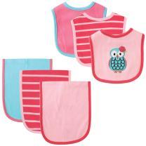 Hudson Baby Unisex Baby Cotton Bib and Burp Cloth Set, Owl, One Size