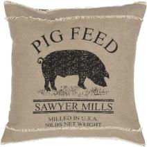 VHC Brands Sawyer Mill Throw Pillow Textured Cotton Pig Cushion 18x18 for Farmhouse Country Decor (Cover and Insert) Bedding Accessory, Charcoal Grey