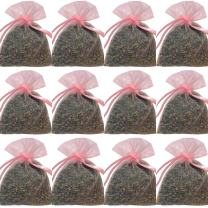 "zziggysgal 12-Pack 3 x 3"" Organza French Lavender Filled Sachets, Light Pink"