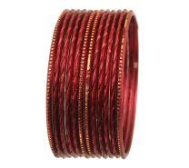 "Touchstone ""Colorful Dozen Bangle Collection Superb Laser Cutting Textured Thin Golden Glaze Slimline Indian Bollywood Designer Jewelry Metal Bangle Bracelets for Women. Set of 12."