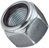 "Steel Hex Nut, Zinc Plated Finish, Grade 5, Self-Locking Nylon Insert, Right Hand Threads, 1/2""-20 Threads, 0.837"" Width Across Flats (Pack of 50)"
