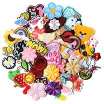 AXEN 60PCS Embroidered Iron on Patches DIY Accessories, Random Assorted Decorative Patches, Cute Sewing Applique for Jackets, Hats, Backpacks, Jeans, 60 Pieces Package
