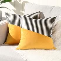 YAERTUN Set of 2 Velvet Soft Decorative Square Throw Pillow Covers Set Cushion Case for Sofa Bedroom Car Cotton Linen Stripe 16 x 16 Inch, Yellow