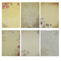 Rancco Stationery Paper/Letter Writing Paper, 60 pcs Printable Kraft Paper, Letter Writing Paper Set, Assorted Flower Design Decorative Paper Pad, 26x18.5cm