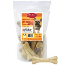 Raw Paws Pet Premium 6-inch Compressed Rawhide Bones for Dogs - Packed in USA - Long Lasting Dog Chews - Natural Pressed Rawhides - Medium Dog Bones - Beef Hide Bones for Aggressive Chewers