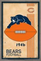 """Trends International NFL Chicago Bears - Retro Logo, 22.375"""" x 34"""", Barnwood Framed Version"""