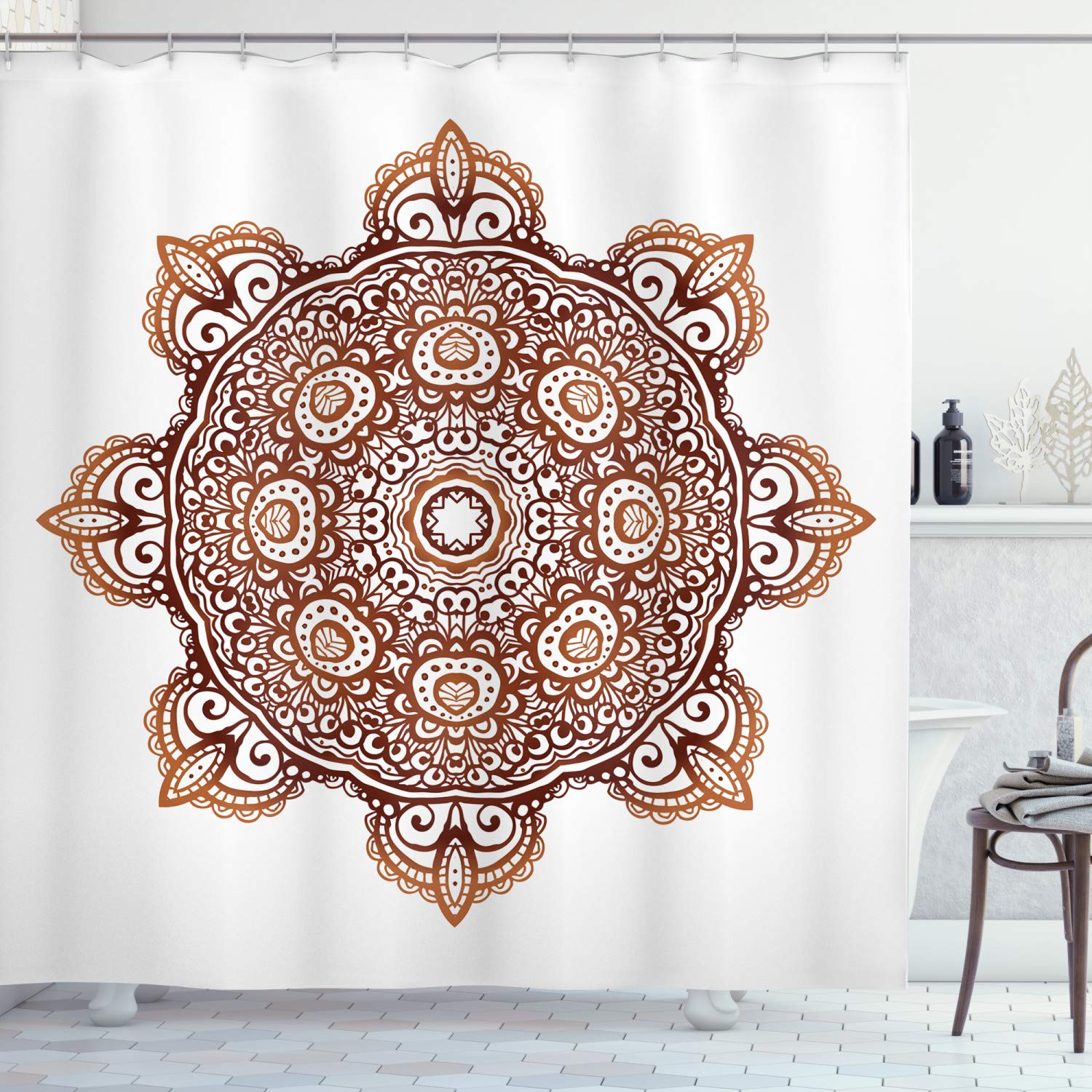 """Ambesonne Oriental Shower Curtain, Ornamental Abstract Doodle Style Folkloric Flower Round Mandala, Cloth Fabric Bathroom Decor Set with Hooks, 70"""" Long, Orange Brown"""