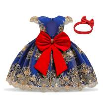 TTYAOVO 0-2 Years Infant Girls Embroidered Christening Birthday Party Dress