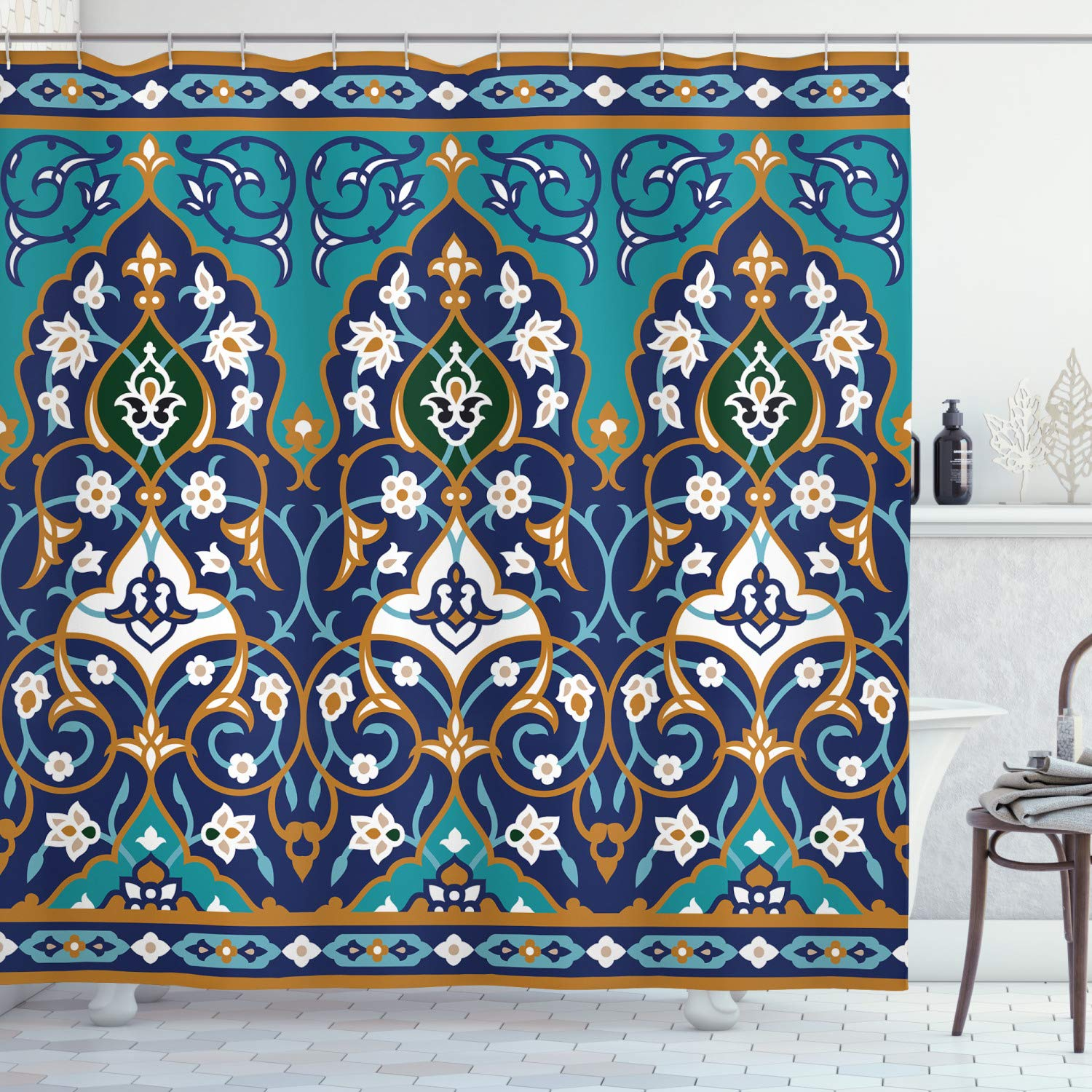 """Ambesonne Moroccan Shower Curtain, Ottoman Folkloric Art Inspired Abstract Aged Middle Age Renaissance Print, Cloth Fabric Bathroom Decor Set with Hooks, 75"""" Long, Navy Blue"""