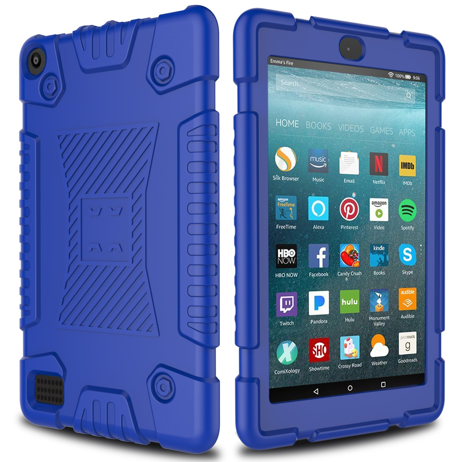 All-New Amazon Fire 7 Silicone Case, Elegant Choise Anti-Slip Shockproof Soft Silicone Kid Friendly Protective Case Cover for All-New Amazon Fire HD 7 Table (7th Generation) 2017 Release (Blue)