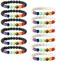 LOYALLOOK 6-12PCS Lava Stone Bracelet Chakras Bead Natural Stone Bracelet Oil Diffuser Bracelet