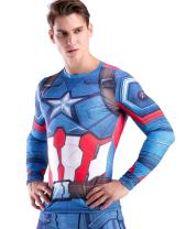Red Plume Men's Compression Sports Shirt Cool America Solider Running Long Sleeve Tee