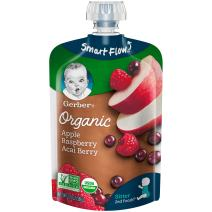 Gerber Organic 2nd Foods Baby Food, Apples, Rasberries & Acai, 3.5 oz Pouch, 12 count