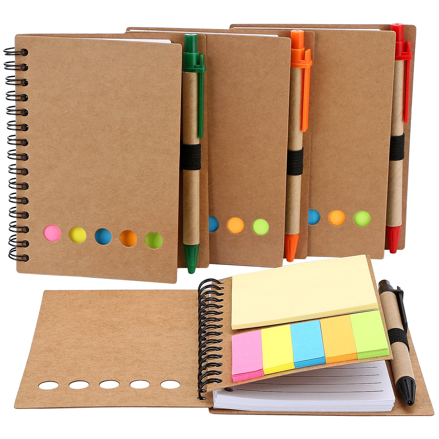TOODOO 4 Packs Spiral Notebook Lined Notepad with Pen in Holder and Sticky Notes, Page Marker Colored Index Tabs Flags (Medium,Brown Cover)