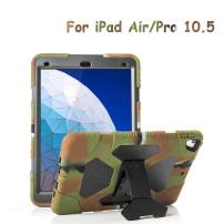 "ACEGUARDER iPad Air 10.5"" 2019 /iPad Pro 10.5 2017 Kids Case, Ultra Protective Shockproof Impact Resistant Rugged Cover with Kickstand - Army/Black"
