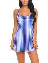 ADOME Women V-Neck Sexy Striped Babydoll Satin Chemise Slip Nightgown Sleepwear