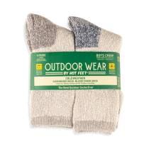 HOT FEET Boys' Outdoor Socks, Warm Youth Socks, Thermal Wool Blend (4 Pack)