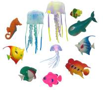 FANTASY FISH & JELLYFISH for Jellyfish Lamps – ULTIMATE Set of 11 Fun Multicolored Sea Creatures for Jellyfish Lava Lights & Aquariums