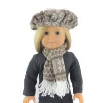 """Grey Snowflake Hat and Scarf Set for 18"""" Dolls  Fits 18"""" American Girl Dolls, Madame Alexander, Our Generation, etc.   18 Inch Doll Clothes"""