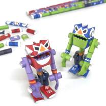 PIPEROID DIY Paper Craft Kit Super Red & El Blue Masked Wrestlers - Japanese Arts and Craft Kit for Kids and Adults - Birthday Gift and Party Favor for 3D Puzzle and Origami Paper Craft Enthusiasts
