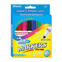 BAZIC 8 Colors Broad Line Jumbo Washable Markers Pens, Assorted Classic Colors Marcador Gift for Kids School Art, 24-Pack