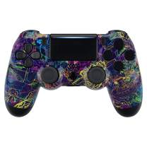 eXtremeRate Neon Novel Patterned Front Housing Shell Case, Glossy Faceplate Cover Replacement Kit for Playstation 4 PS4 Slim PS4 Pro CUH-ZCT2 JDM-040/050/055 Controller - Controller NOT Included