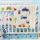 Brandream Crib Bedding Sets for Boys Baby Nursery Bedding 100% Cotton, Blue & White Cars Vehicles Design Crib Sets 4 Pieces, Baby Hot Gift