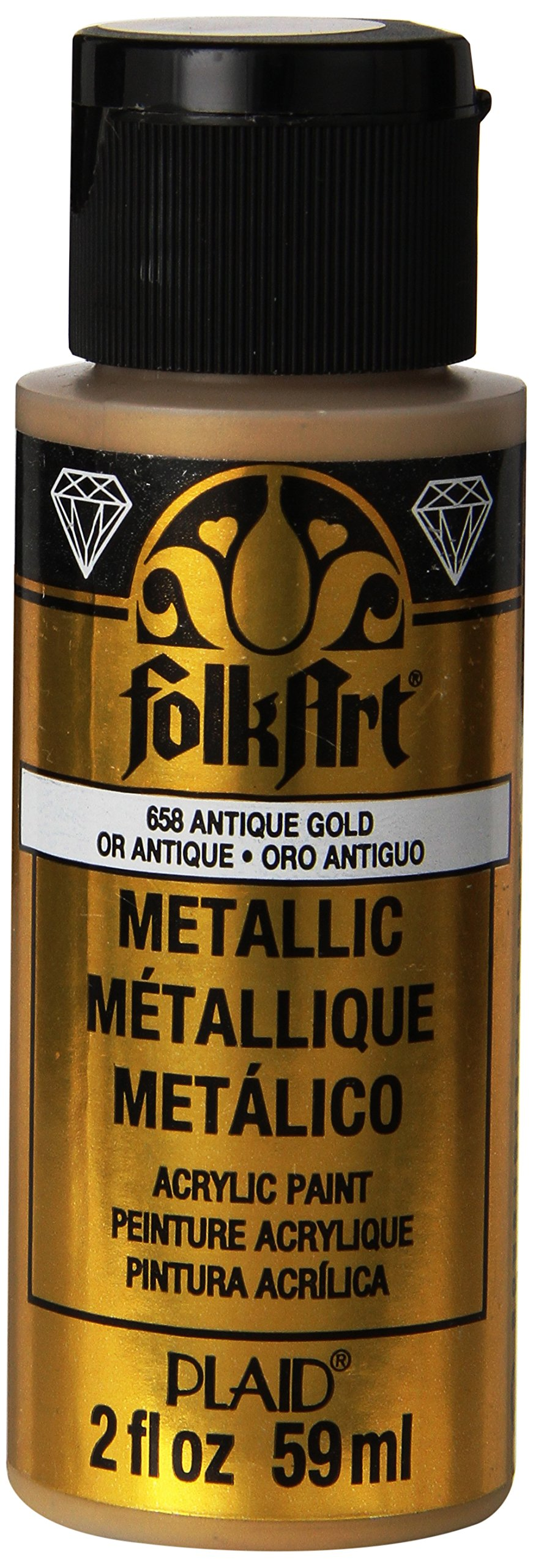 FolkArt Metallic Acrylic Paint in Assorted Colors (2 oz), 658, Antique Gold