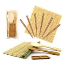BambooMN Sushi Maker Kit 1x Green 1x Natural Bamboo Rolling Mats, 1x Rice Paddle, 1x Spreader, 1x Compartment Sauce Dish + 6 Prs Chopsticks