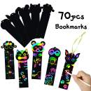 MALLMALL6 Animal Scratch Bookmarks Rainbow Scratch DIY Hang Tags Party Favors Theme Birthday Party Classroom School Supplies Decorations Crafts Kit for Kids