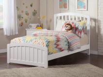 Atlantic Furniture Richmond Traditional Bed with Matching Foot Board, Twin, White