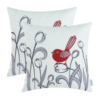 CaliTime Pack of 2 Soft Canvas Throw Pillow Covers Cases for Girls Couch Sofa Hand Drawing Cute Bird with Gray Sweet Tulip Floral Print 18 X 18 Inches Dark Red