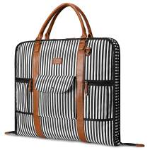 Carry On Garment Bag for Business Travel S-ZONE Canvas Leather Men WomenSuit Cover