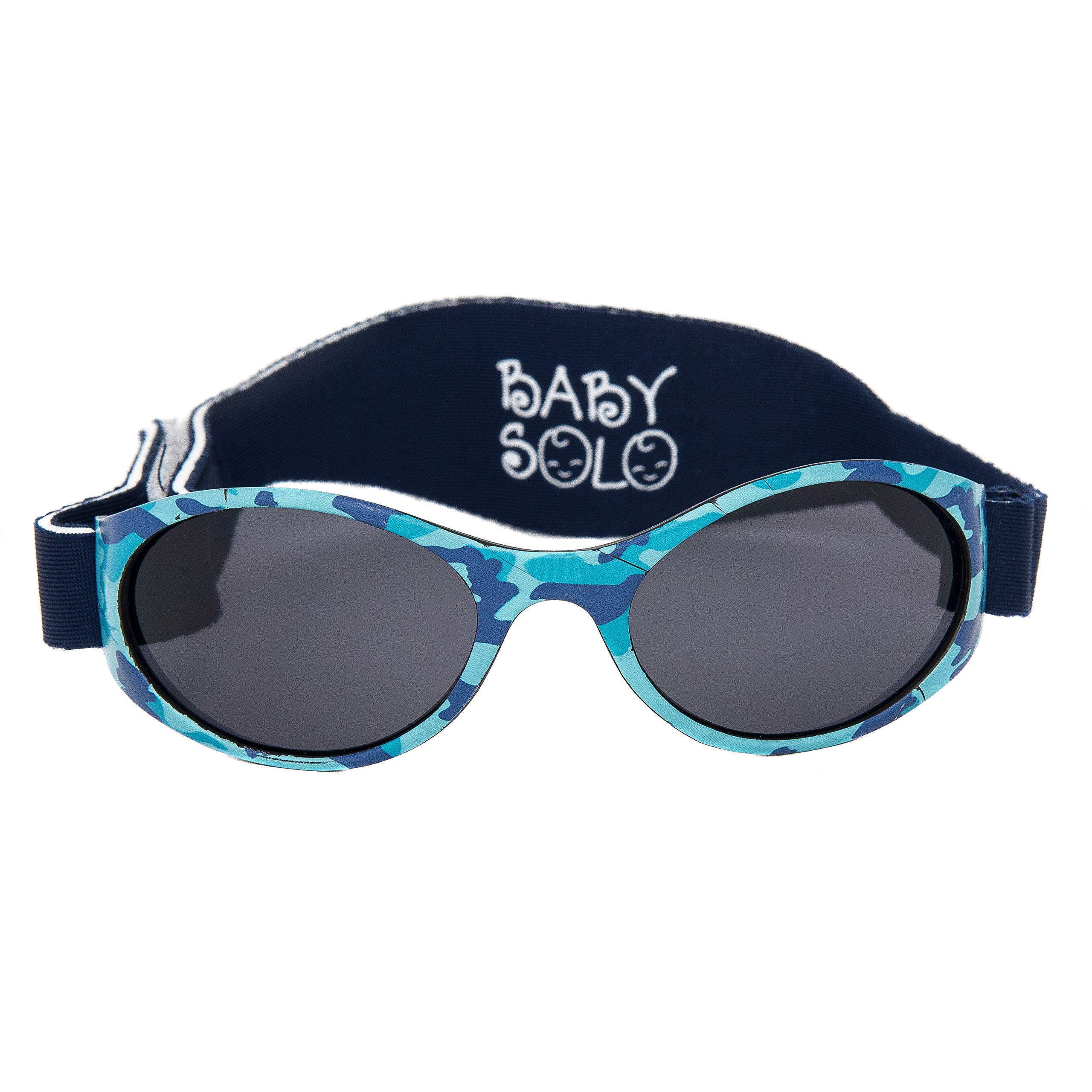 Baby Solo Original Baby Sunglasses Safe, Soft, Adorable Durable Case Included (0-36 Months, Matte Blue Camo Frame w/Solid Black Lens)