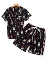 Aoymay Women Cute Pajamas Set Short Sleeve Button Down Cotton Pj Sets M-XXL