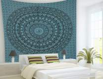 THE ART BOX Turquoise Elephant Bedroom Tapestry Indian Black and White 90x85 Tapestry Wall Hangings Tapestries for Wall Decoration Dorm Room Decor Accessories