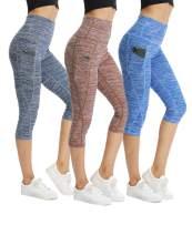 CongYee Sport Women's Yoga Capris Tummy Control Yoga Pants for Women with Pockets High Waisted Yoga Capri Leggings