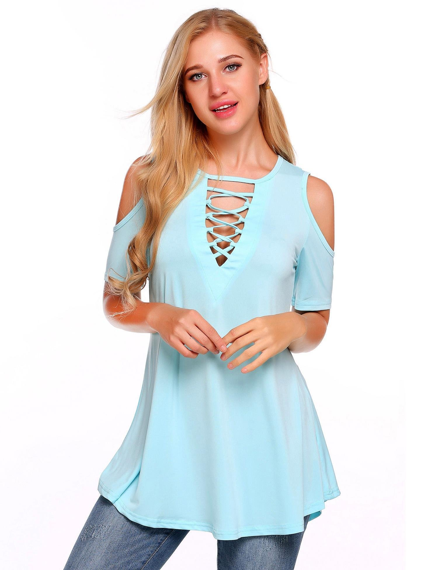 Zeagoo Women's Blouse Shirts Criss Cross Cold Shoulder Short Sleeve Casual V Neck Loose Tunic Tops S-XXL