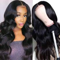 Unice Hair Silk Base Fake Scalp Human Hair T Part Body Wave Lace Closure Wigs Middle Part for Black Women Unprocessed Brazilian Virgin Hair Long Wigs Pre Plucked with Baby Hair 150% Density 22 inch