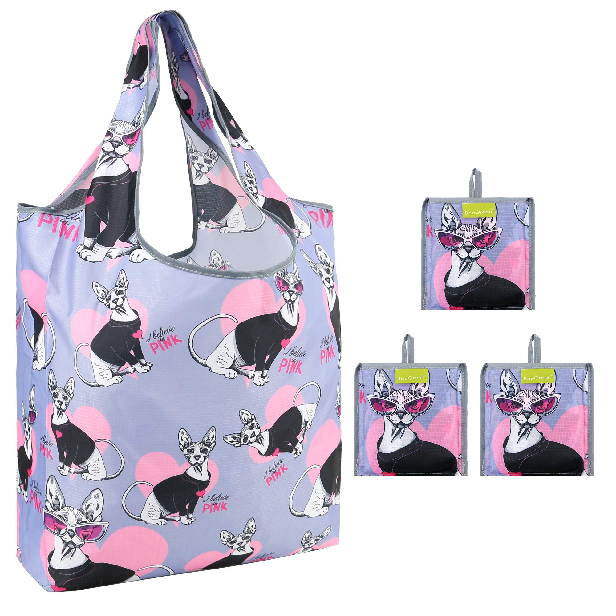 BLACK CAT FOLD UP SHOPPING BAG WITH HOLDER REUSABLE ECO FRIENDLY