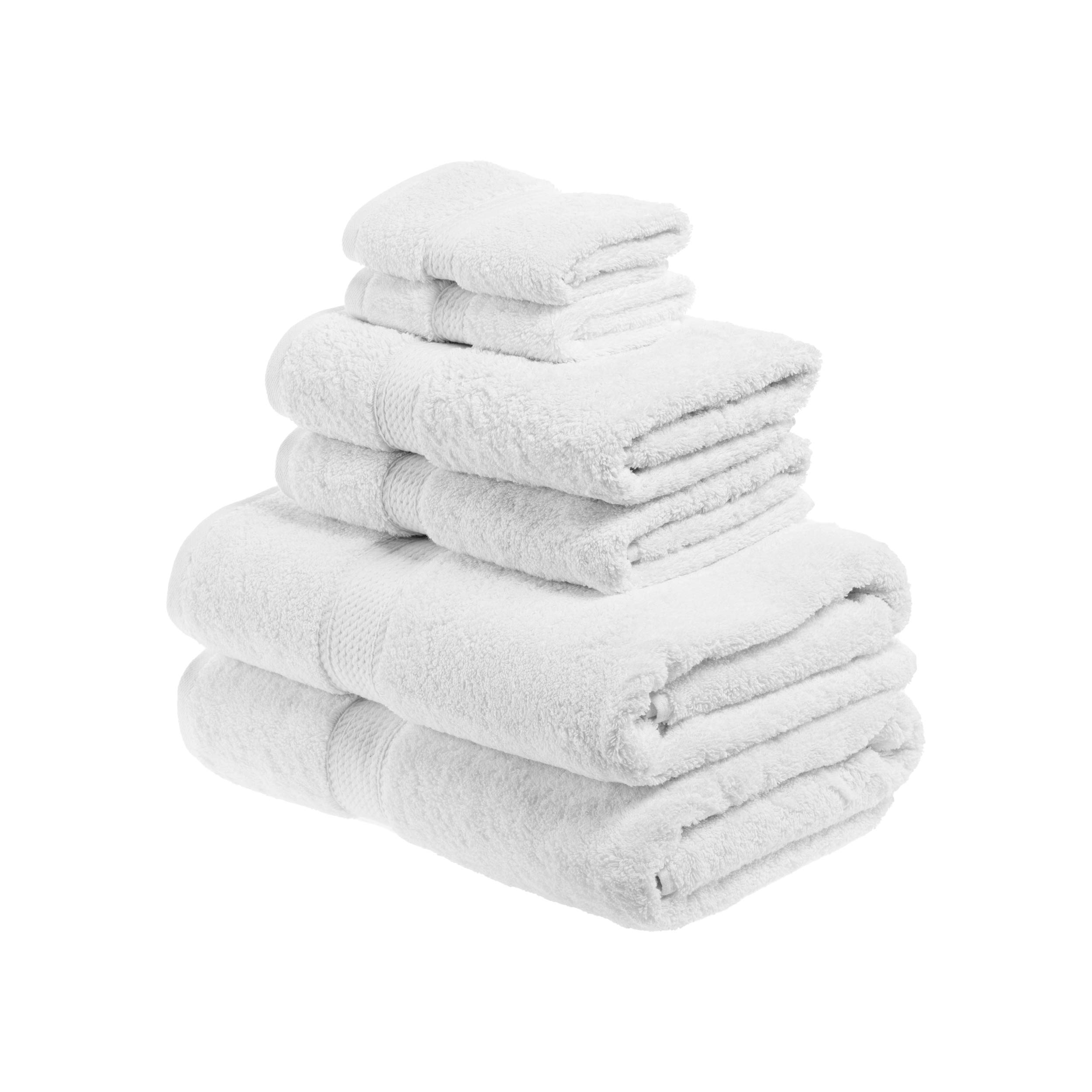 Blue Nile Mills Buckingham Egyptian Cotton 6-Piece Towel Set, 900 GSM, Hotel Quality, Luxury Weight, Long-Staple, Soft, Absorbent, Durable, Rope-Style Border, 2 Bath, 2 Hand, and 2 Face Towels, White