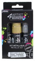 Pebeo 4Artist Marker, Oil Paint Markers, Metallic Set of 3 x 8 mm