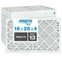 """Aerostar Home Max 16x25x4 MERV 13 Pleated Air Filter, Made in the USA, Captures Virus Particles, (Actual Size: 15 1/2""""x24 1/2""""x3 3/4""""), 6-Pack"""