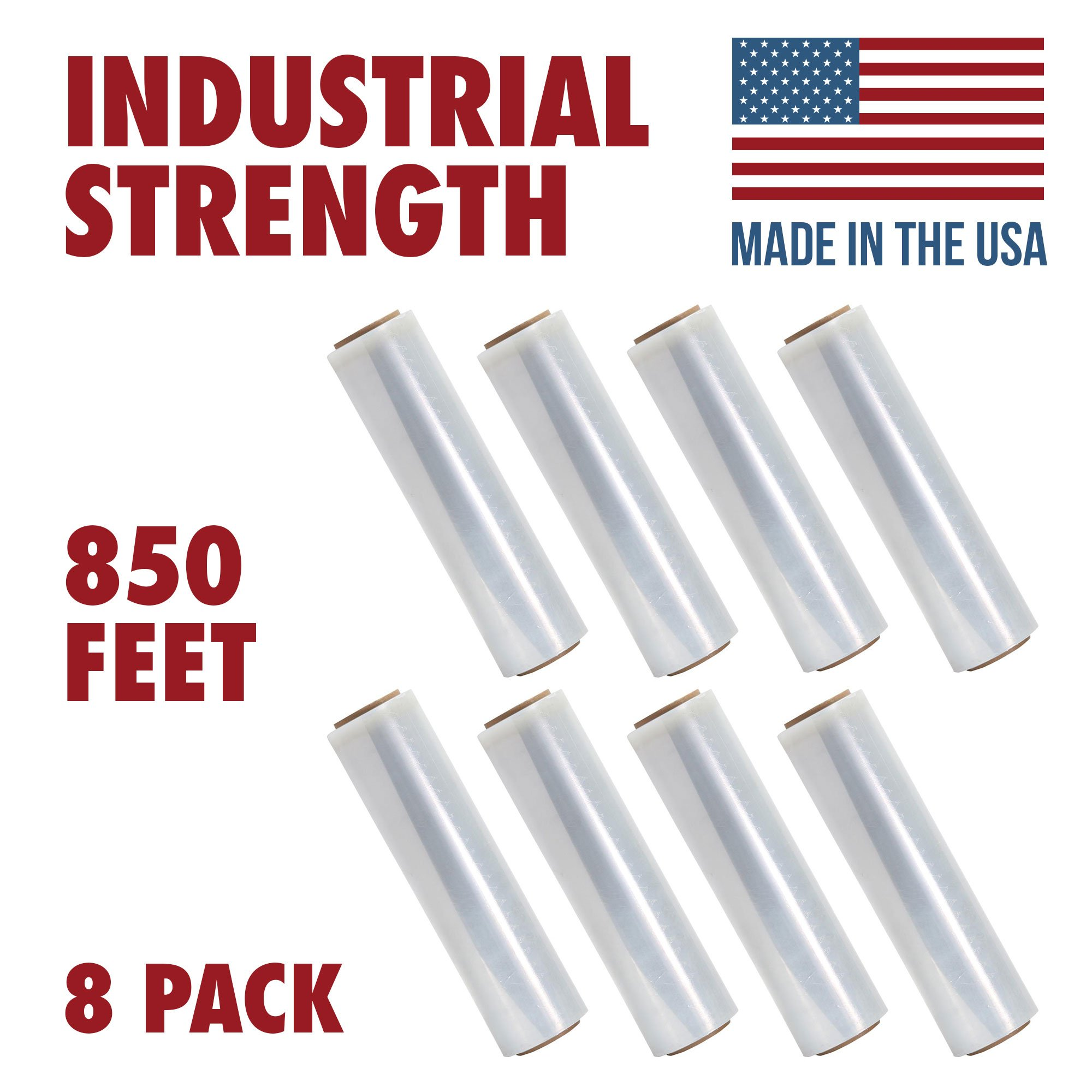 18 Inch X 850 feet Tough Pallet Shrink Wrap, 80 Gauge Industrial Strength, Commercial Grade Strength Film, Moving & Packing Wrap, For Furniture, Boxes, Pallets (8-Pack)