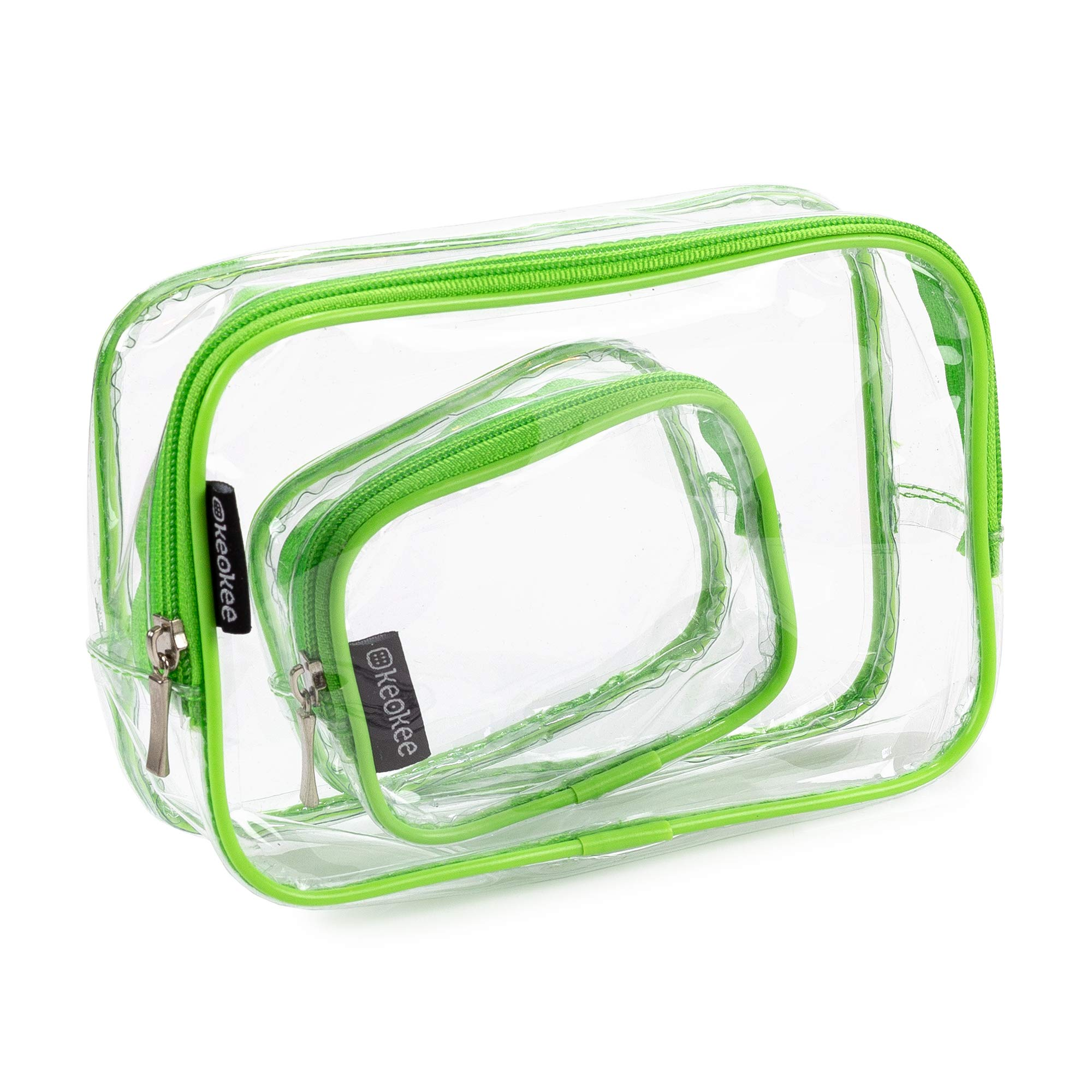 Keokee Clear Toiletry Bag Set, Quart Size with Smaller Case for Travel and Organizing, TSA Approved for 3-1-1 Liquids (Green)