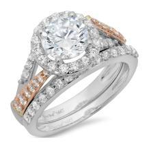 Clara Pucci 1.8 CT Round Cut Pave Halo Bridal Engagement Wedding Ring Band Set 14k White Rose Gold