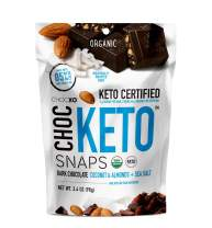 ChocKETO Dark Chocolate Coconut Snaps with Almonds and Sea Salt | Keto Certified, USDA Organic, Certified Gluten Free and Kosher | Sustainably Sourced 85% Cacao, 98 g (1 Bag)