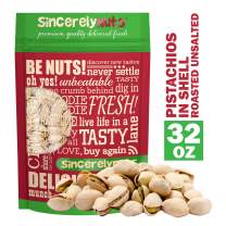 Sincerely Nuts Large Pistachios Roasted & Unsalted in Shell - 2 Lbs. Bag | Healthy Snack Food | Great for Cooking | Source of Fiber, Protein, Vitamins & Minerals | Gourmet | Kosher & Gluten Free