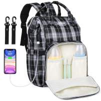 Diaper Bag Backpack,Multifunction Travel Maternity Baby Nappy Changing Bags with USB Charging Port (Plaid style white)